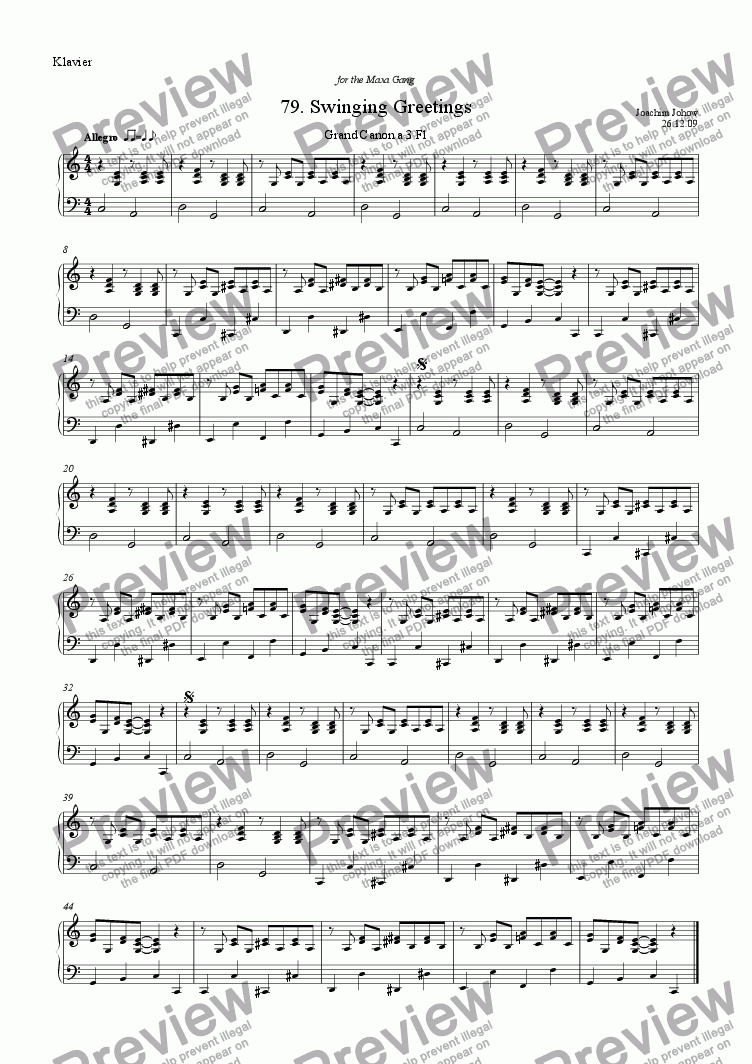 page one of the Piano part from Grand Canon 79 (Swinging Greetings for 3 flutes)