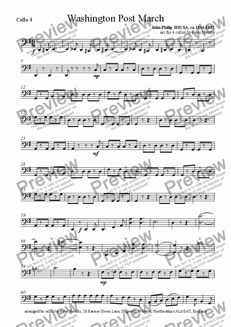 page one of the Cello 4 part from Washington Post March