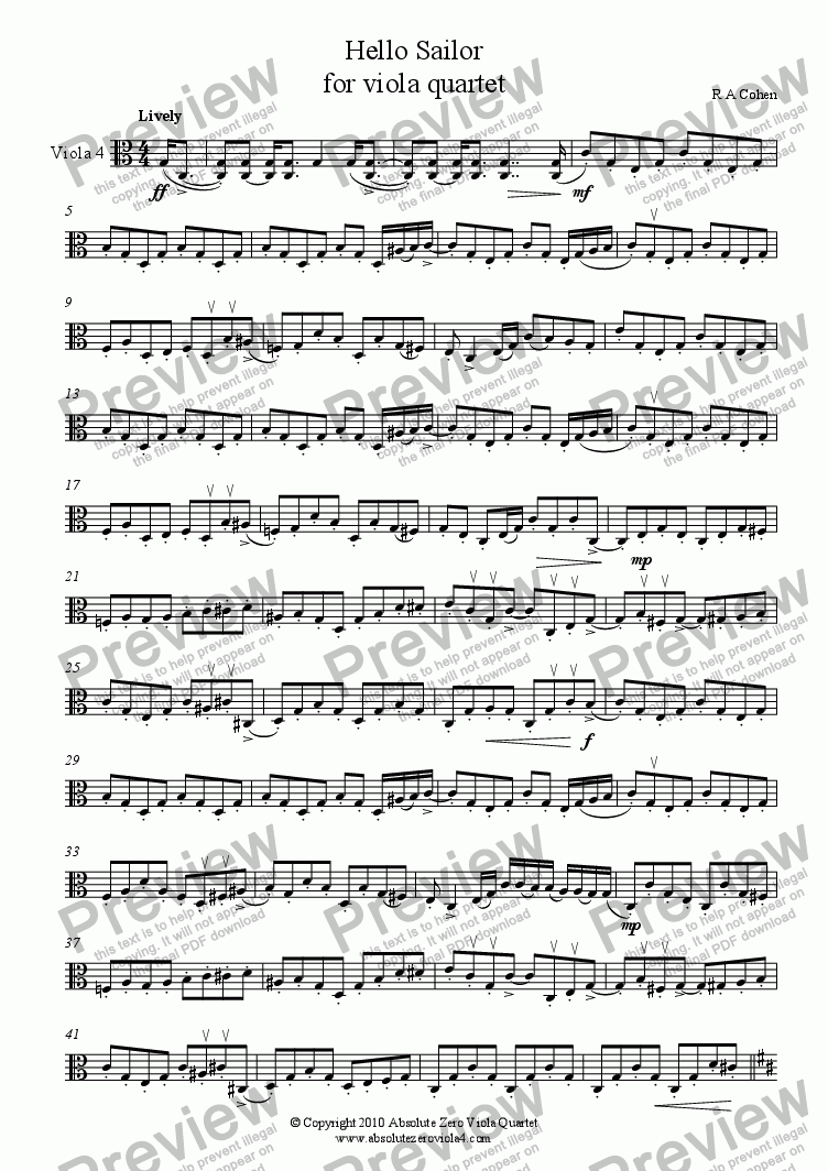 page one of the Viola 4 part from HELLO SAILOR - for viola quartet
