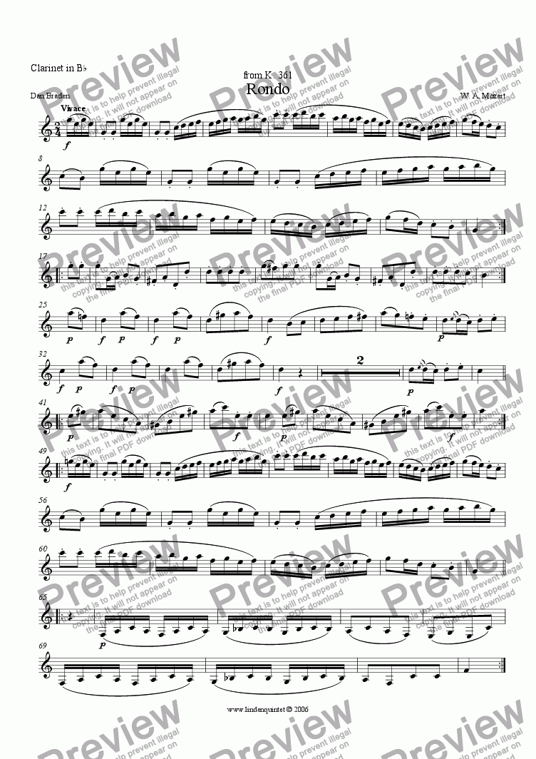 page one of the Clarinet part from Mozart - Rondo from K. 361