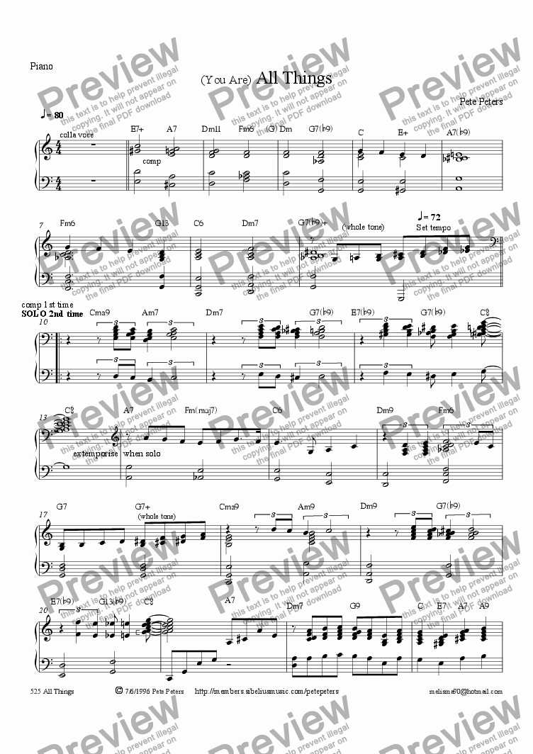 page one of the Piano part from You are All Things [Pop vocal 4tet]