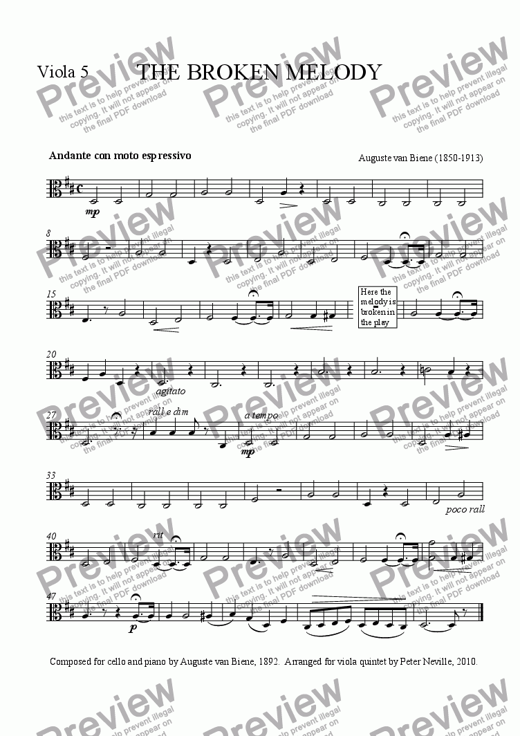 page one of the Viola 5 part from The Broken Melody (arr for 5 violas)