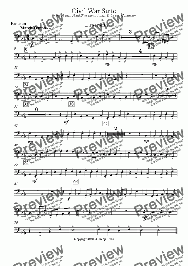 page one of the Bassoon part from Civil War Suite for Band