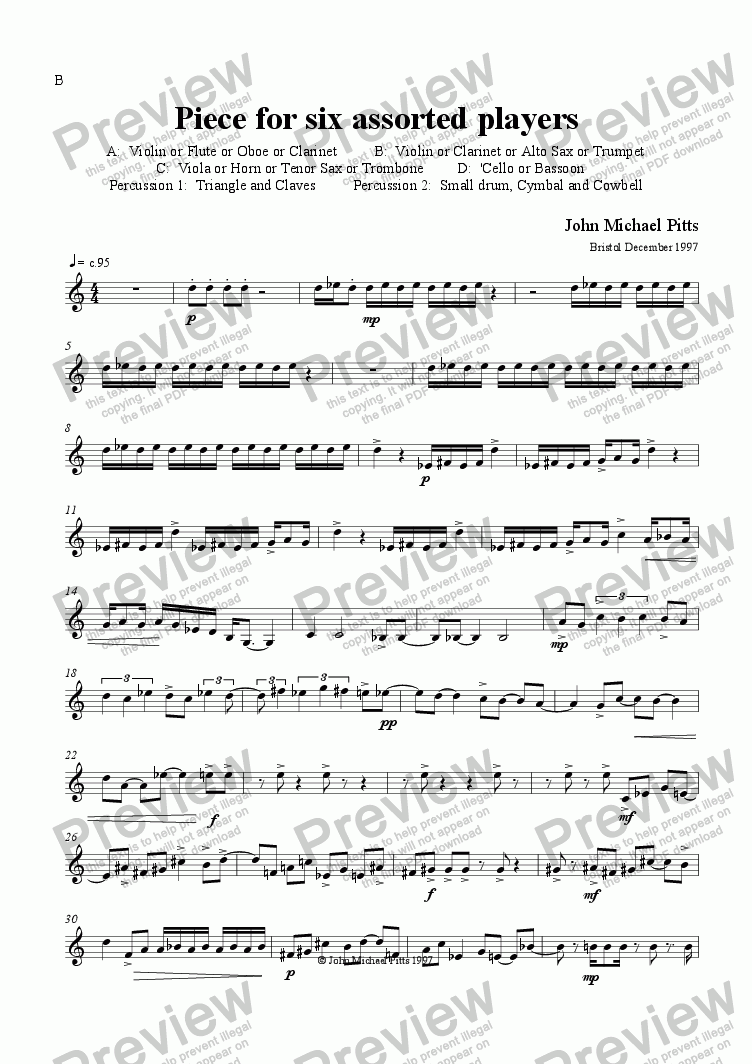 page one of the B part from Piece 4 Six (string quartet & 2 percussion) [1997]