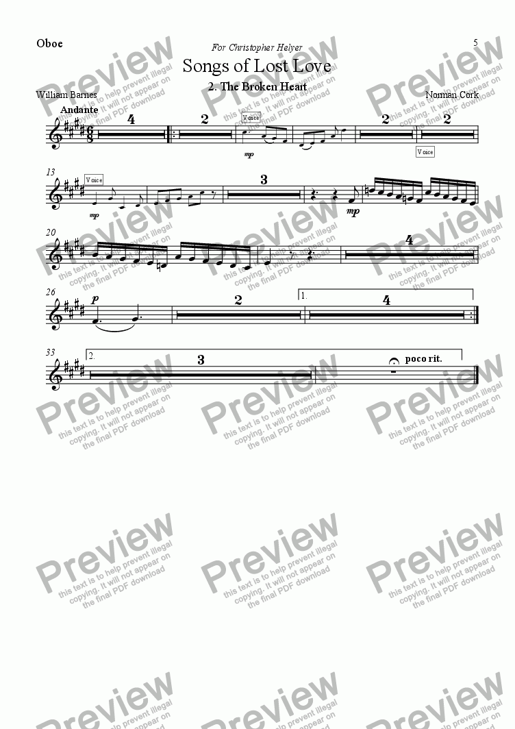 page one of the Oboe part from 5 Songs of Lost Love (Orchestral version) 2. The Broken Heart