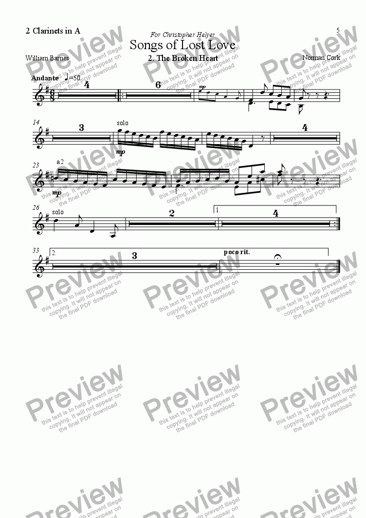 page one of the Clarinets in A part from 5 Songs of Lost Love (Orchestral version) 2. The Broken Heart