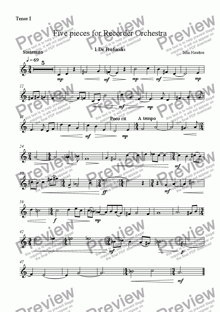 page one of the Tenor recorder 1 part from Five Pieces for Recorder Orchestra