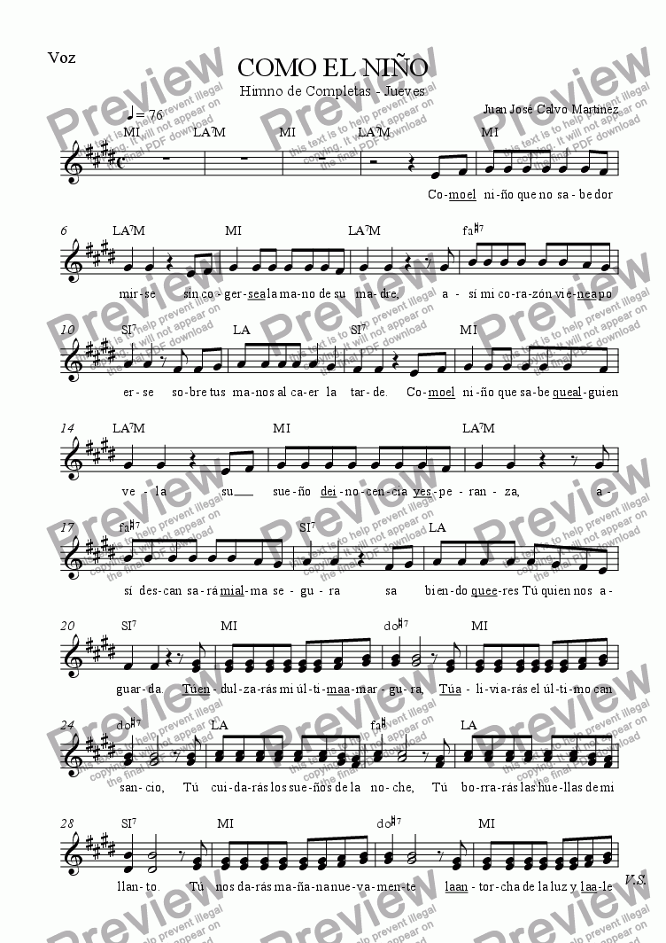 page one of the Voice part from Como el niño (As the child)