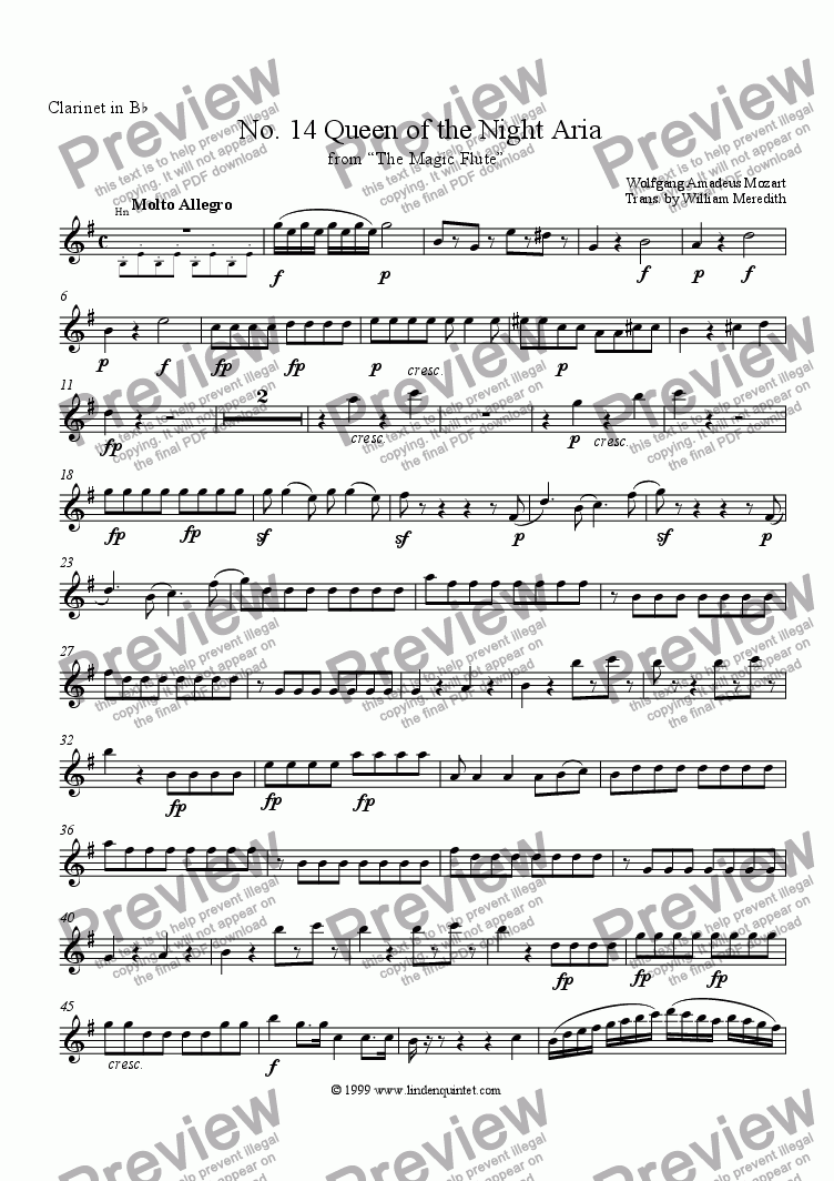 page one of the Clarinet part from Mozart - Magic Flute No. 14 Queen of the Night Aria