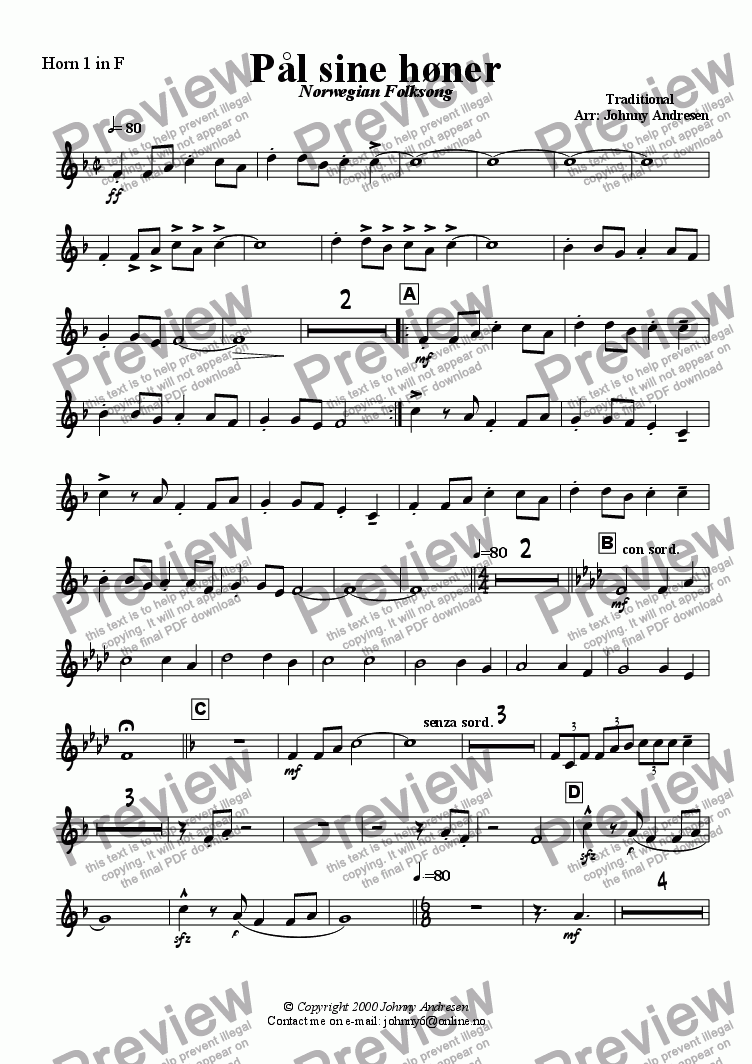 page one of the Horn 1 part from Pål sine høner