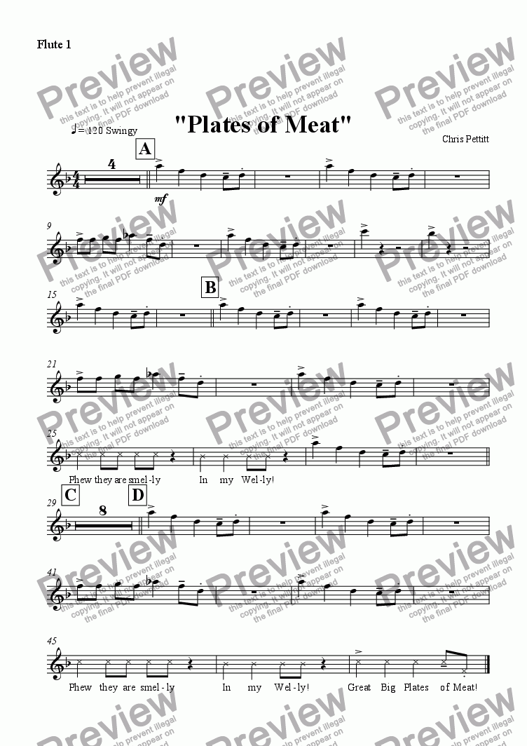 page one of the Flute 1 part from Plates of Meat
