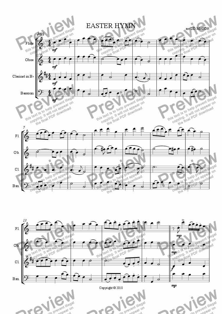 page one of the bassoon part from EASTER HYMN