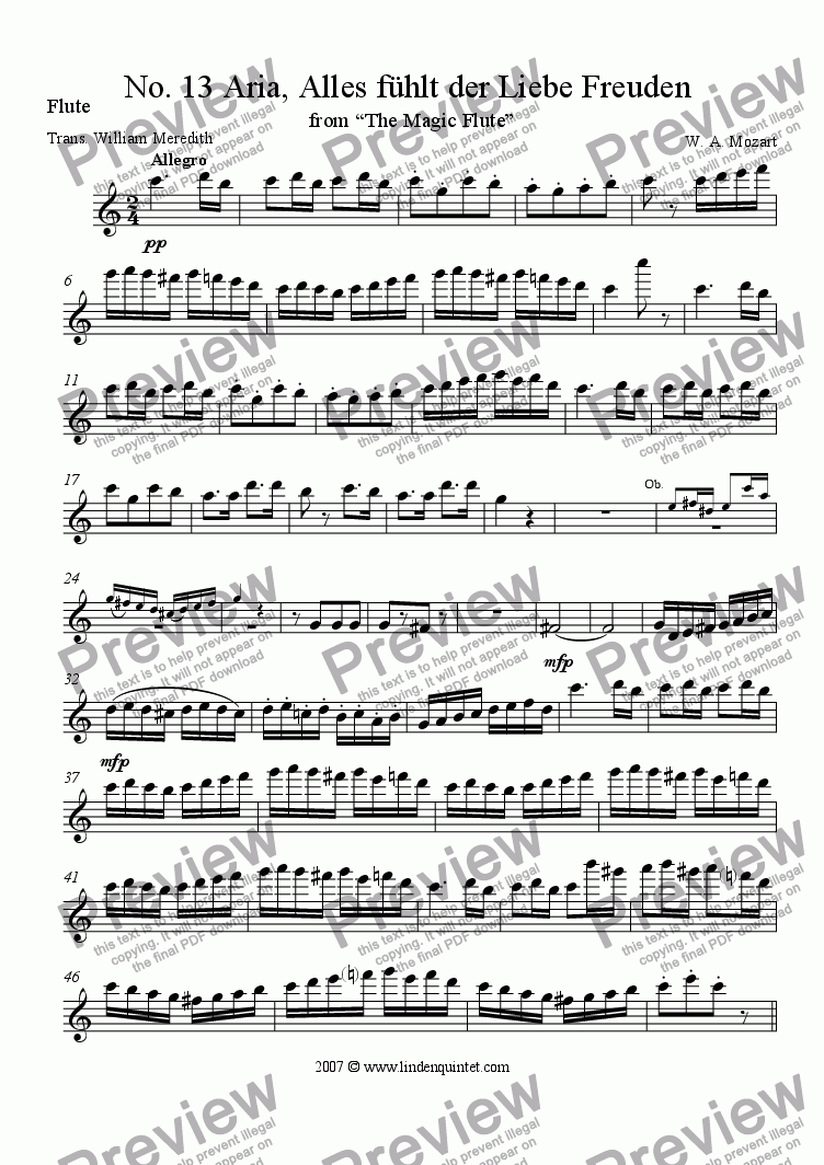 page one of the Flute part from Mozart - Magic Flute No. 13 Alles fuhlt der Liebe Freuden