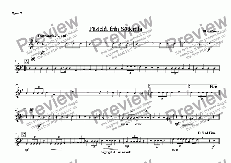 page one of the Horn (F) part from Wedding march from Soderala - Brass sextett