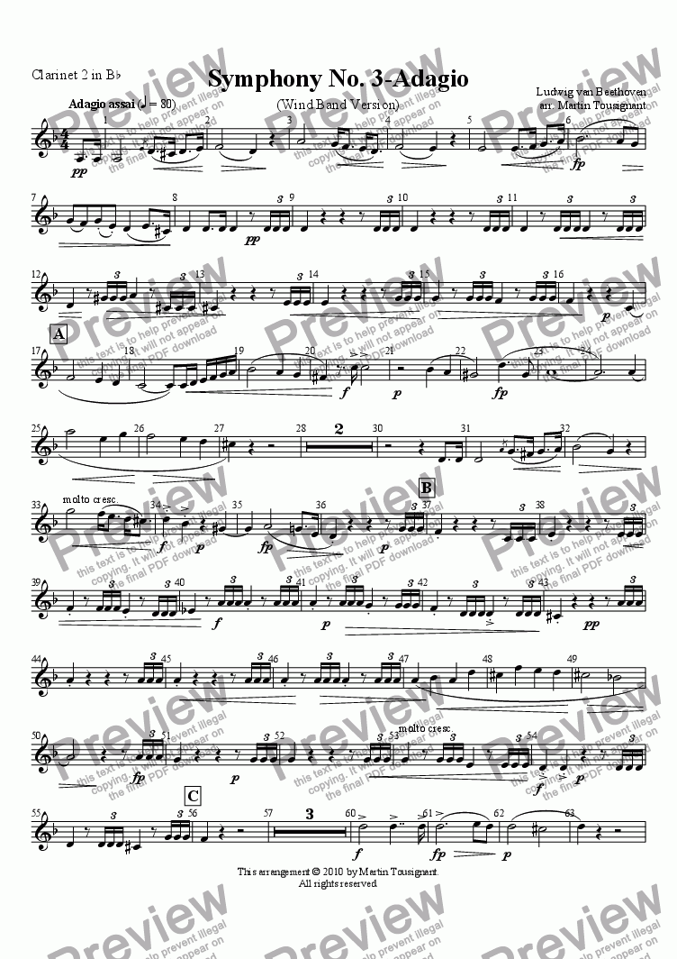 page one of the Clarinet 2 part from Marcia Funebre (Complete)