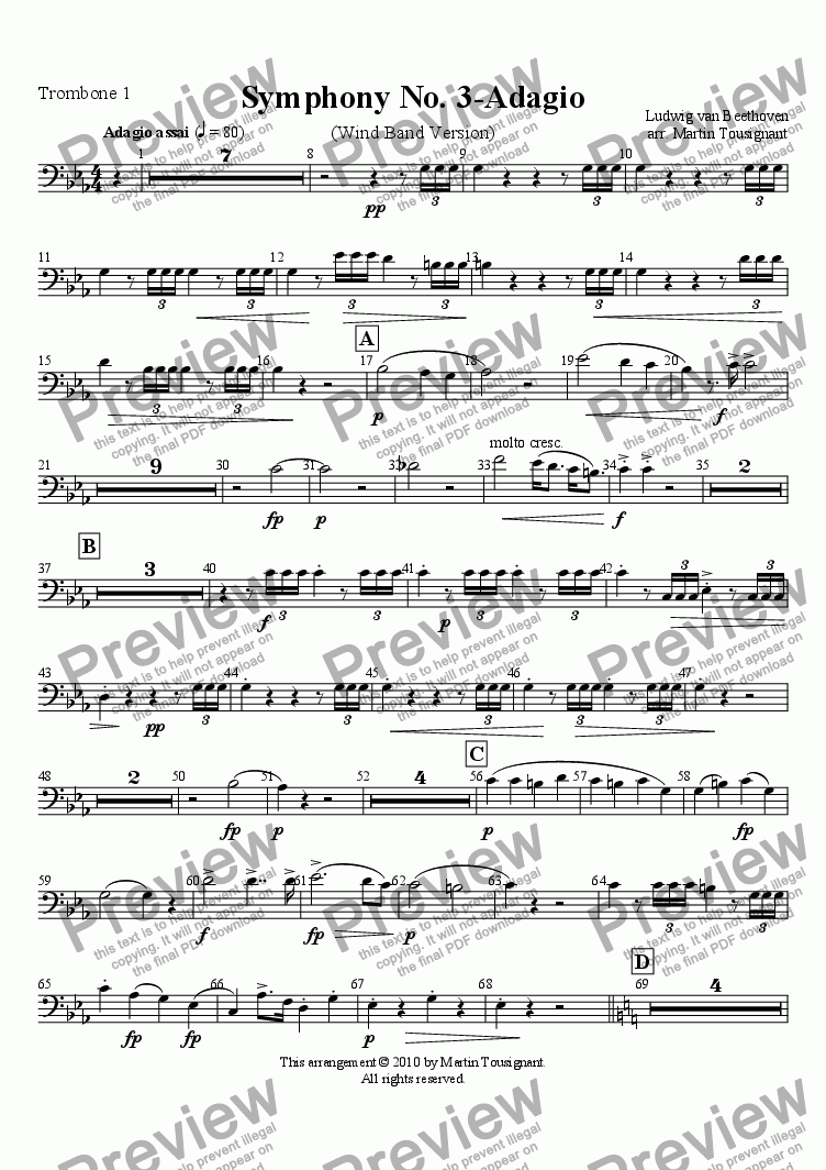 page one of the Trombone 1 part from Marcia Funebre (Complete)