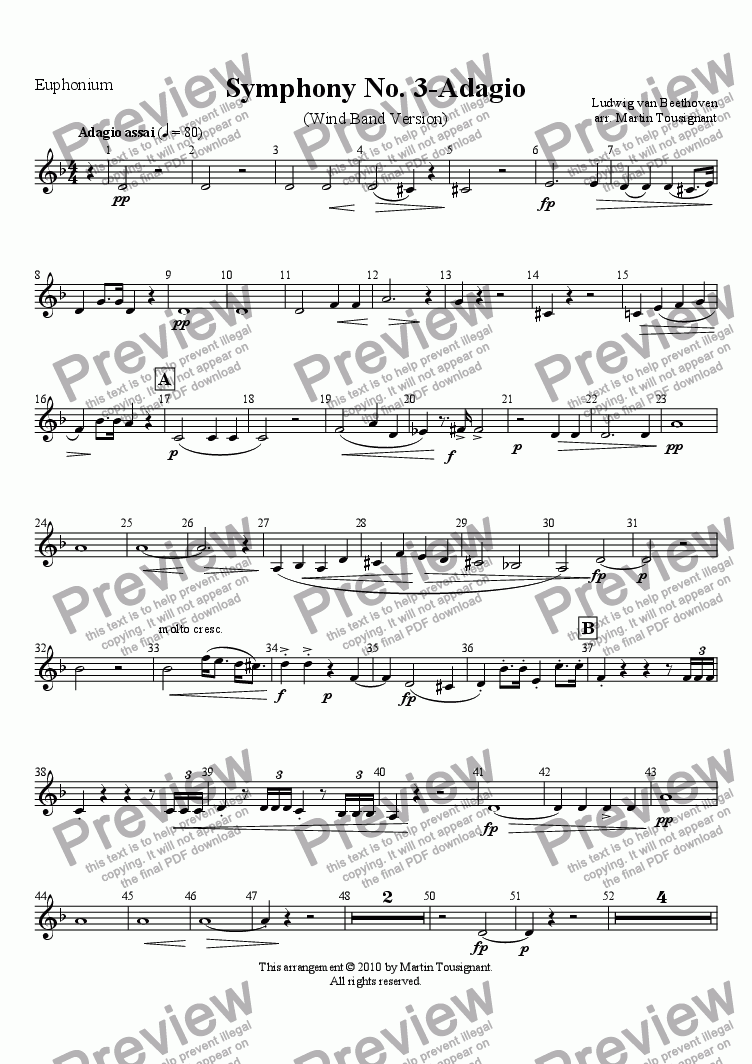 page one of the T. C. Euphonium part from Marcia Funebre (Complete)