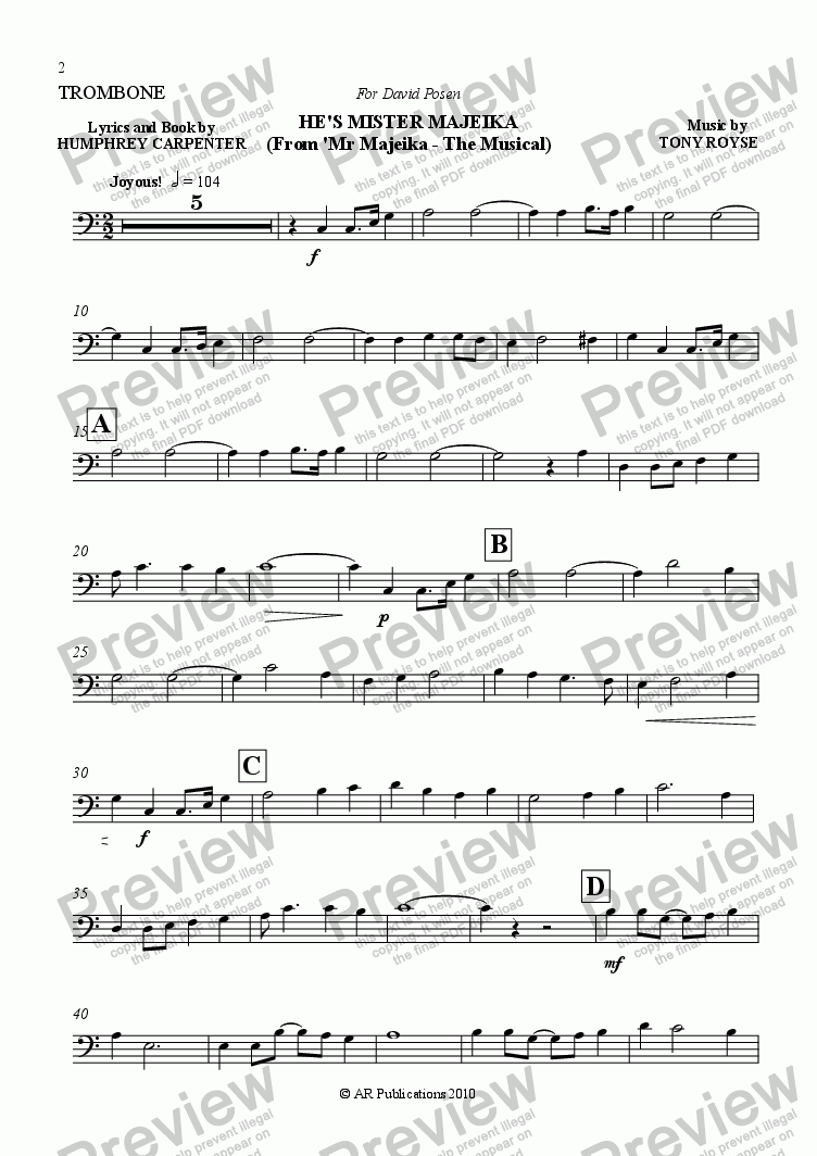 page one of the Trombone part from He's Mr Majeika (Trombone/Piano)