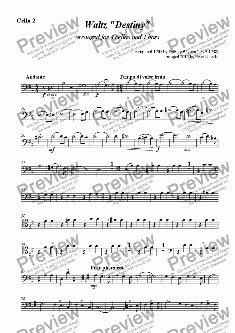page one of the Cello 2 part from Destiny Waltz (arr. for 4 cellos + 1 bass )