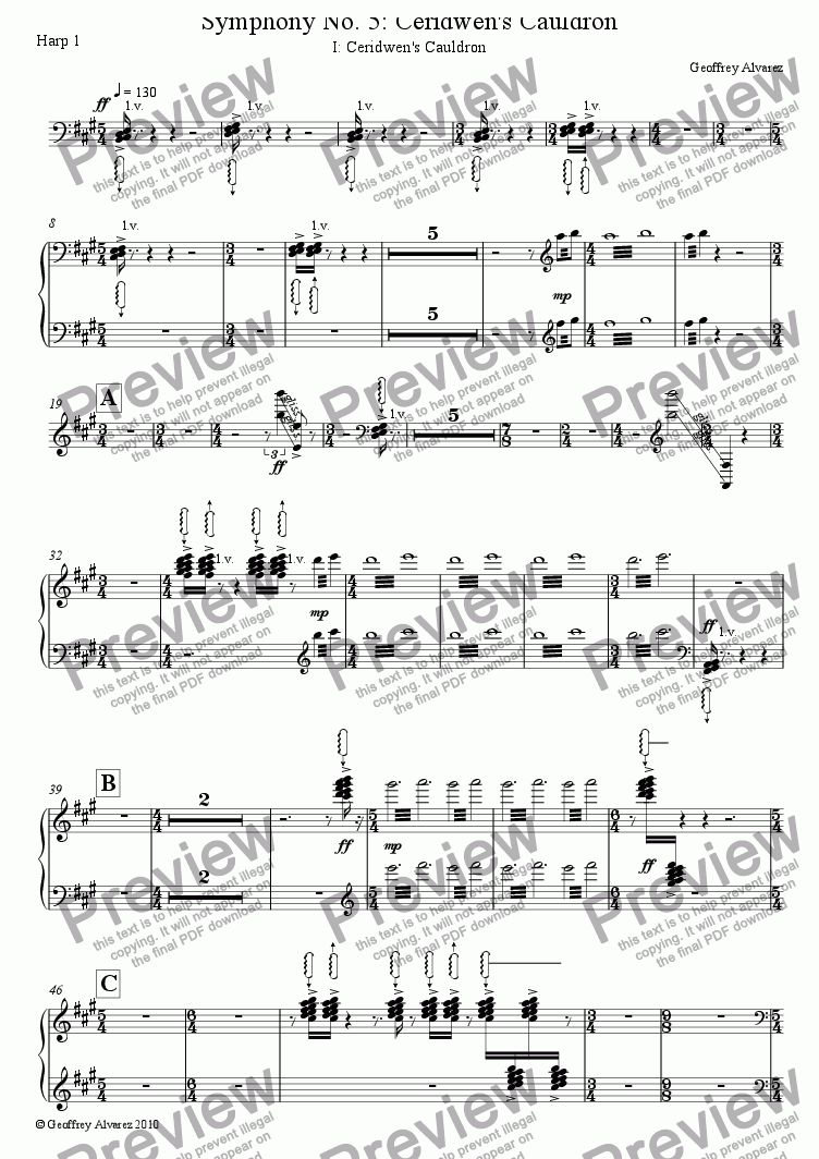 page one of the Harp 1 part from Symphony No. 5: Ceridwen's Cauldron