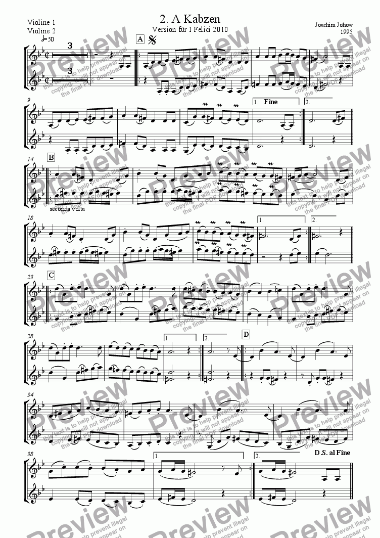 page one of the Vl 1/2 part from I Felici 02 (A Kabzen)