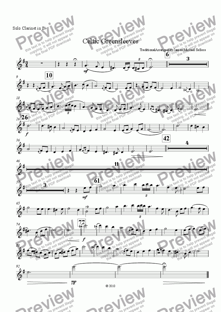 page one of the Solo Bb Clarinet part from Celtic Greensleeves (Clarinet Choir)