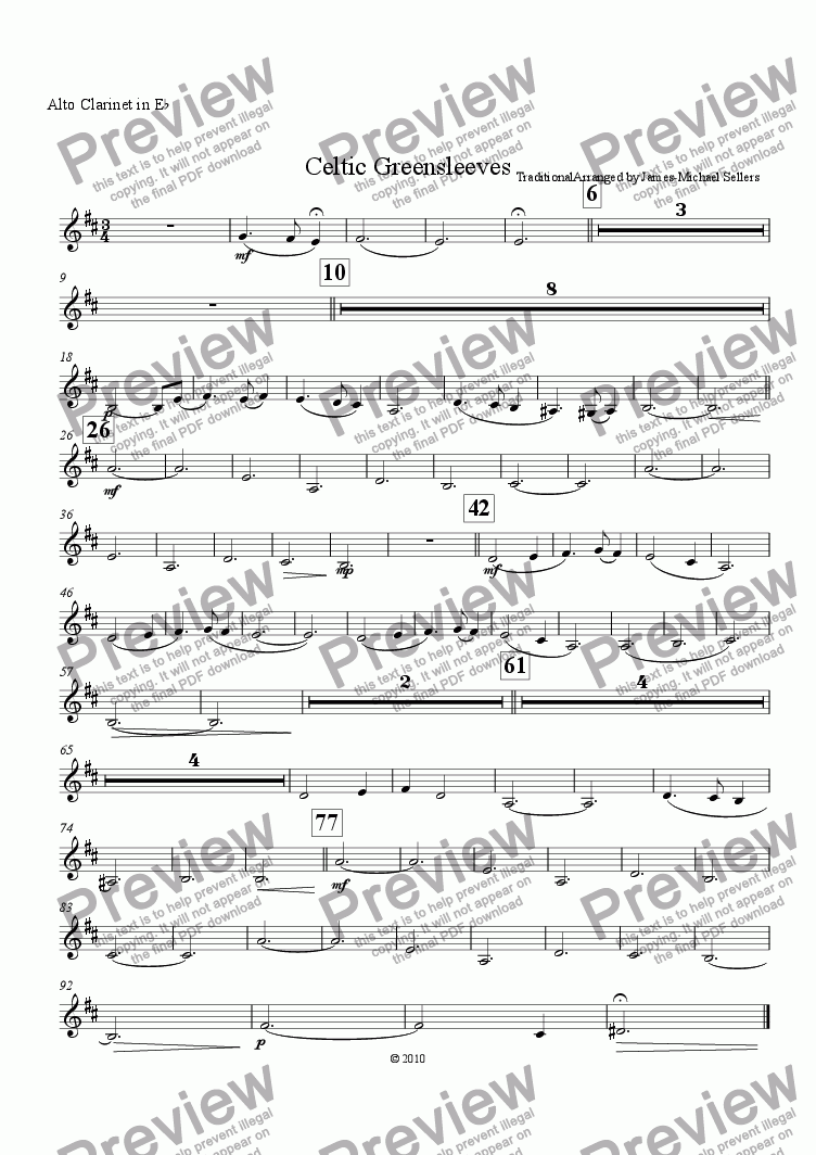 page one of the Eb Alto Clarinet part from Celtic Greensleeves (Clarinet Choir)