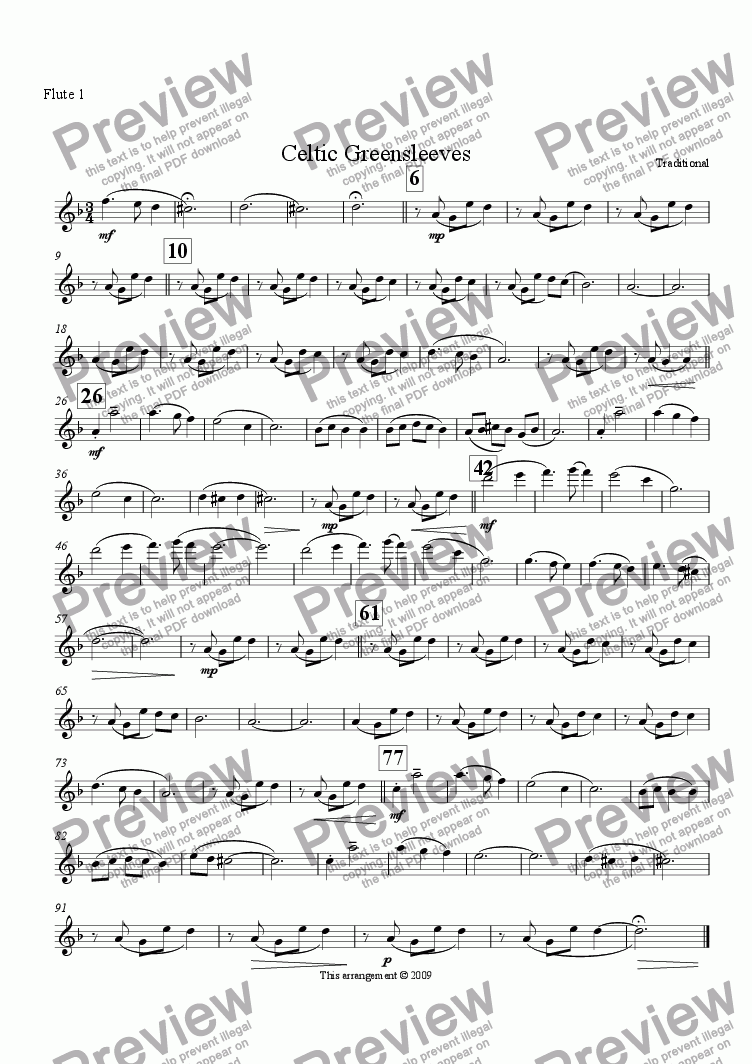 page one of the Flute 1 part from Celtic Greensleeves (Flute Choir)