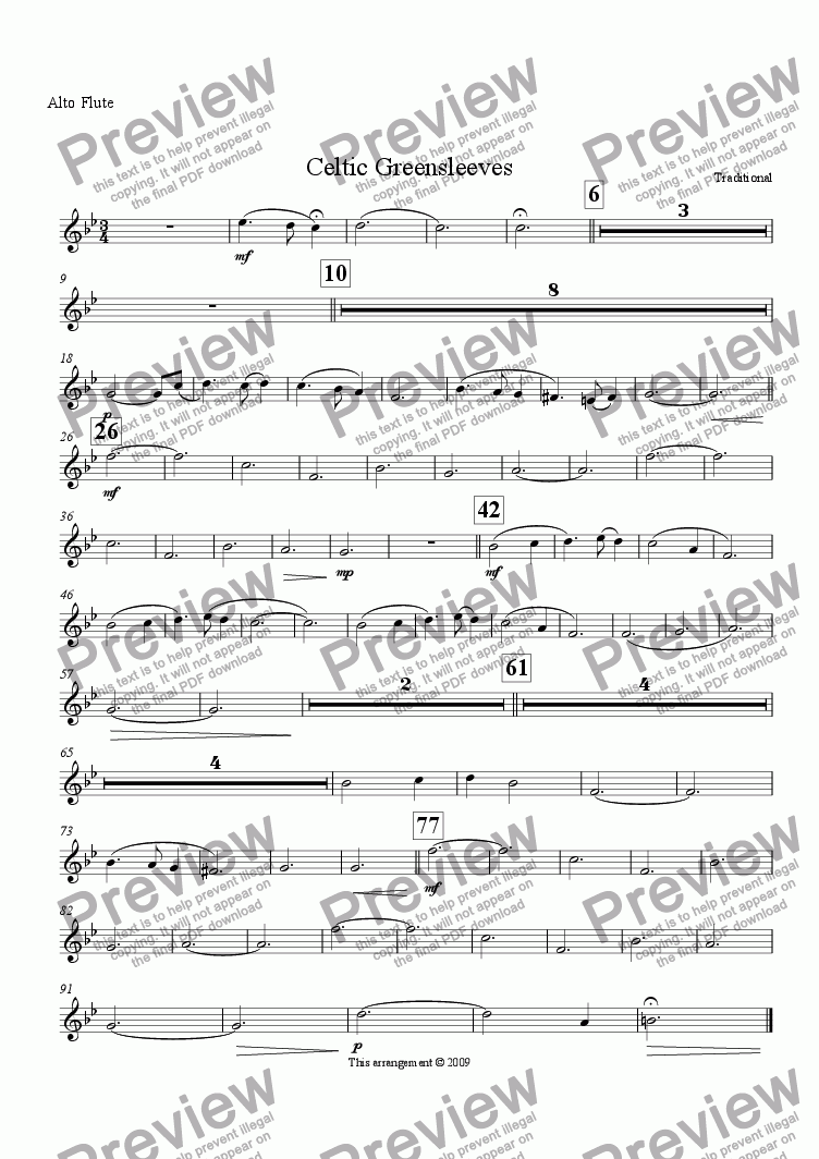 page one of the Alto Flute part from Celtic Greensleeves (Flute Choir)