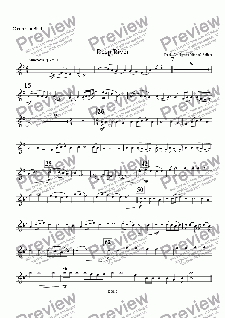 page one of the Bb Clarinet 1 part from Deep River (Clarinet Choir)