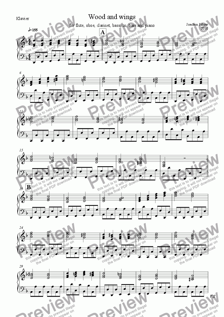 page one of the Piano part from Wood and wings (Fl, Ob, Cl, Fg, Bass, Piano)