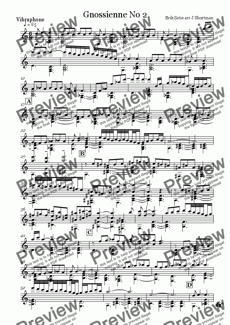 page one of the vibraphone part from Satie - Gnossienne no.2 (arranged for Vibraphone & training orchestra)