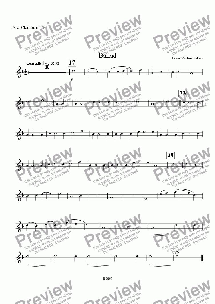 page one of the Eb Alto Clarinet part from Ballad (for solo Bass Clarinet and Clarinet Choir)