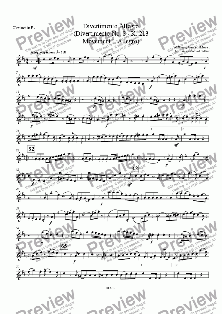 page one of the Eb Clarinet part from Divertimento in F K.213 (Divertimento Allego for Clarinet Choir)