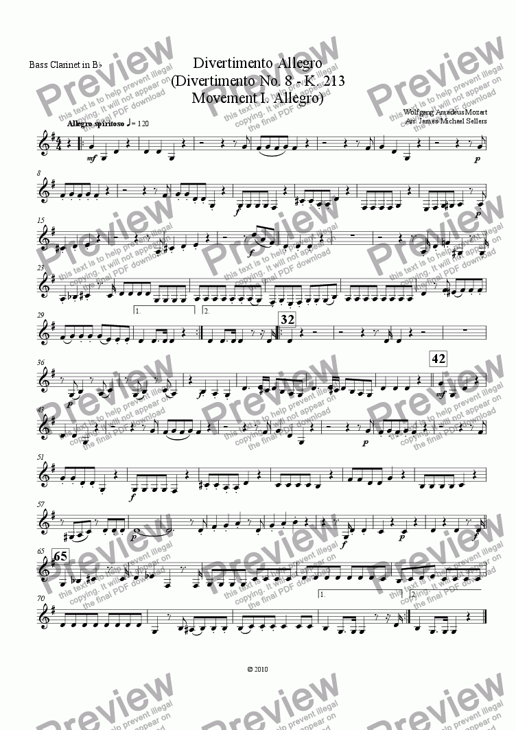 page one of the Bb Bass Clarinet part from Divertimento in F K.213 (Divertimento Allego for Clarinet Choir)