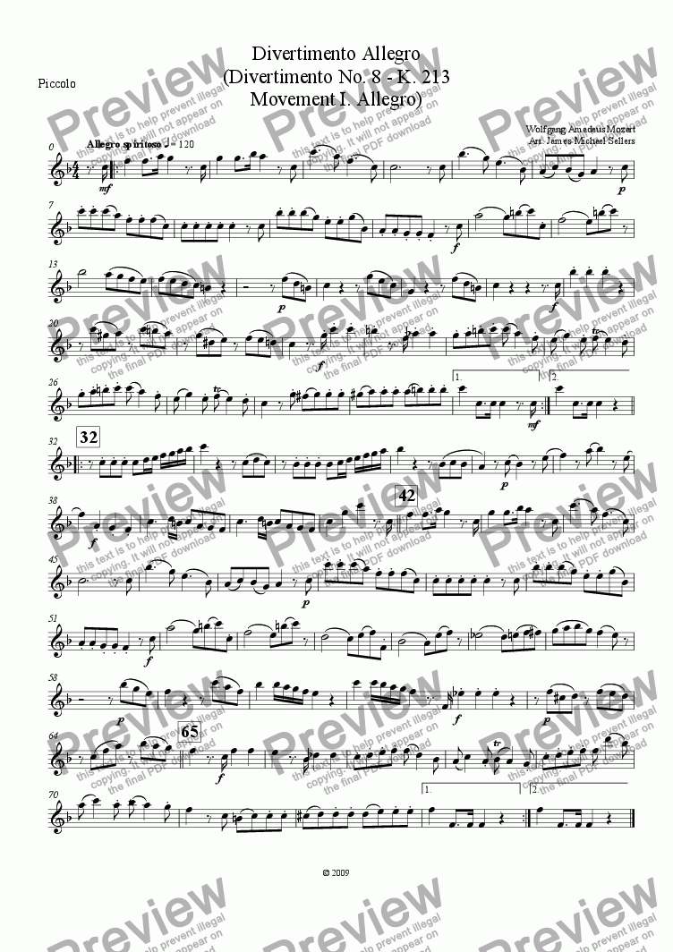 page one of the Piccolo part from Divertimento in F K.213 (Divertimento Allego for Flute Choir)