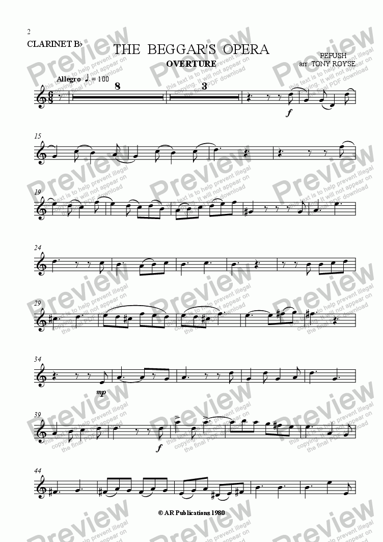 page one of the Clarinet part from Beggar's Opera - Overture