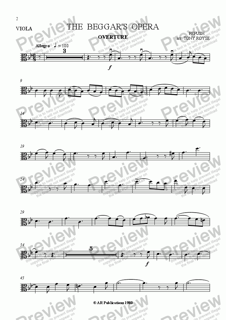 page one of the Viola part from Beggar's Opera - Overture