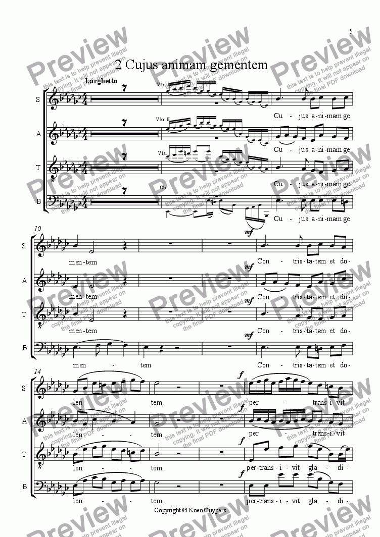 page one of the Choir part from 2-Cujus animam gementem