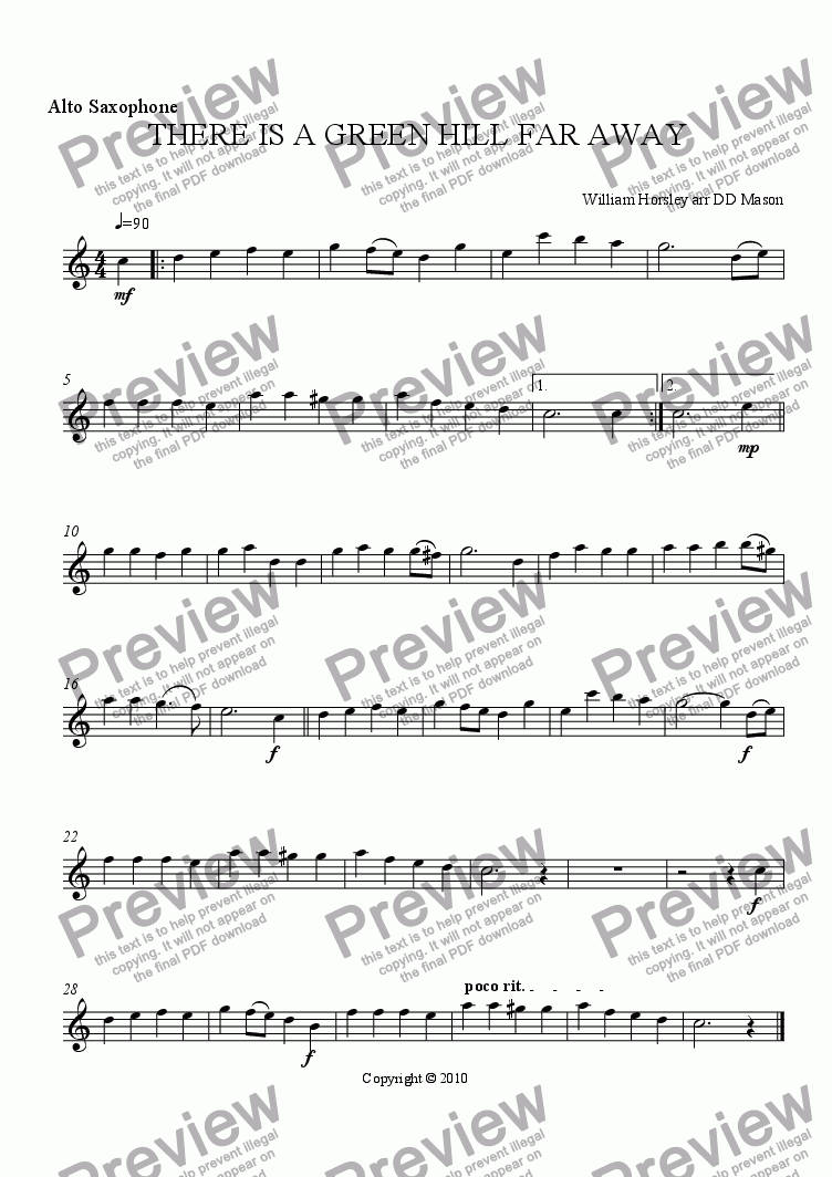 page one of the Alto Saxophone part from THERE IS A GREEN HILL FAR AWAY