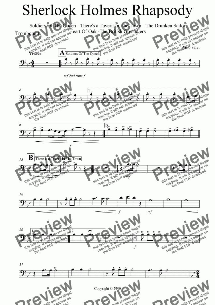Trombone 1 Part From Sherlock Holmes Rhapsody Sheet Music Pdf File