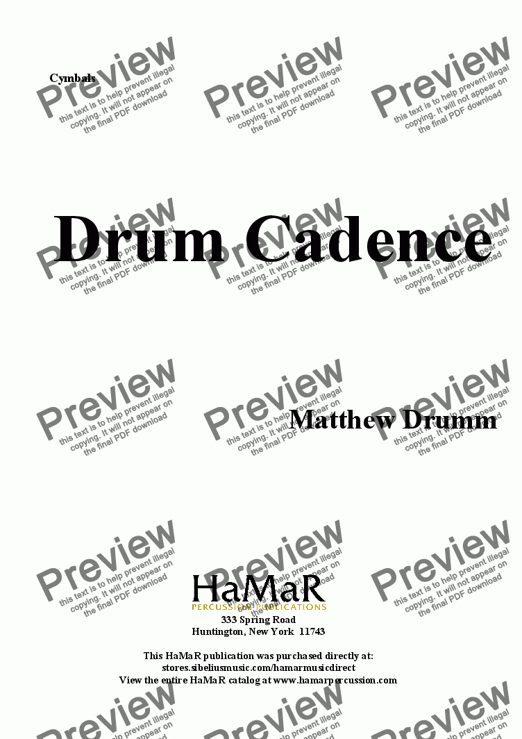 page one of the Cymbals part from Drum Cadence