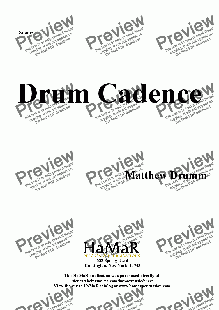 page one of the Snares part from Drum Cadence