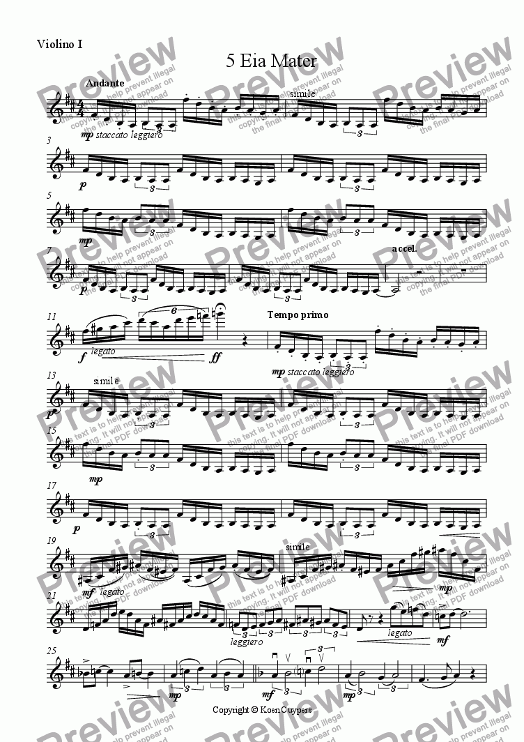 page one of the Violino I part from 5-Eia Mater