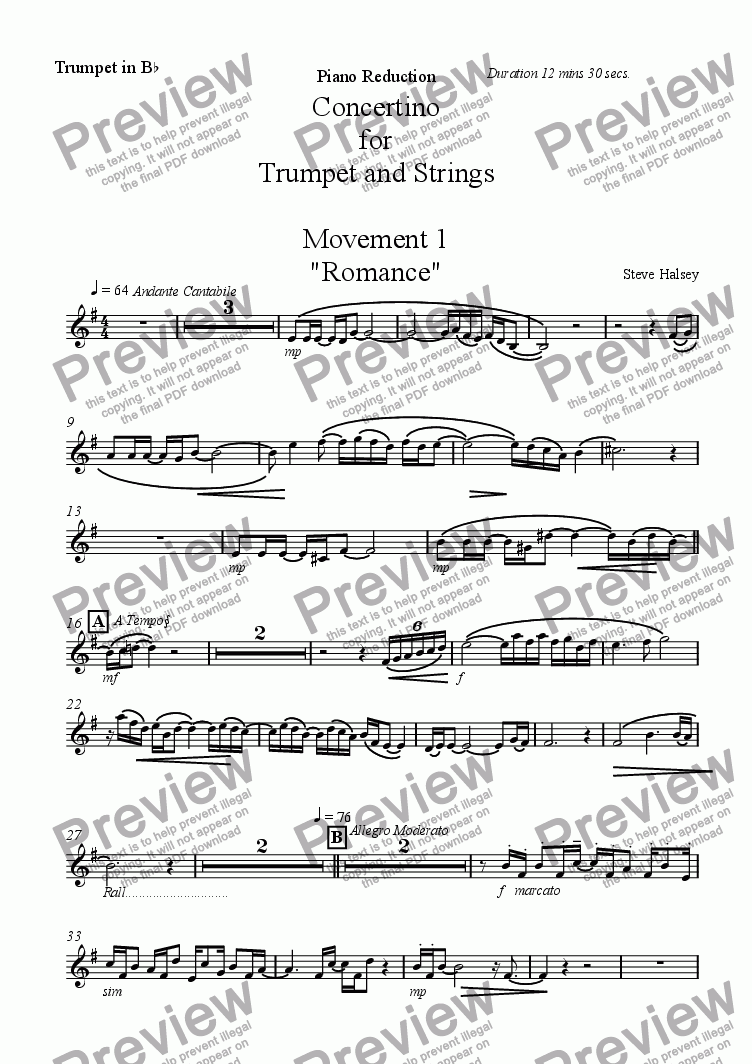 page one of the Trumpet in Bb part from Concertino for Trumpet and Piano