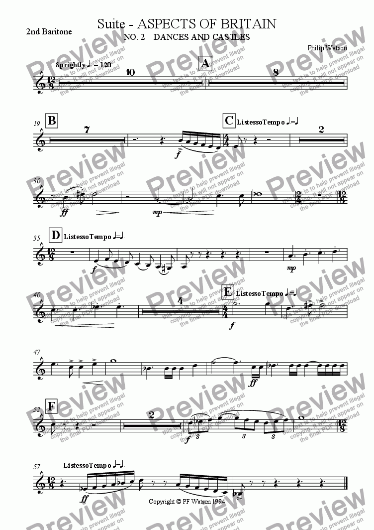 page one of the 2nd Baritone part from SUITE: Aspects of Britain  No. 2 DANCES AND CASTLES