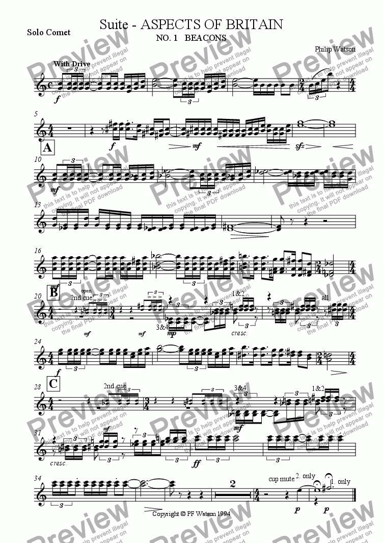 page one of the Solo Cornet part from SUITE: Aspects of Britain  No.1 BEACONS
