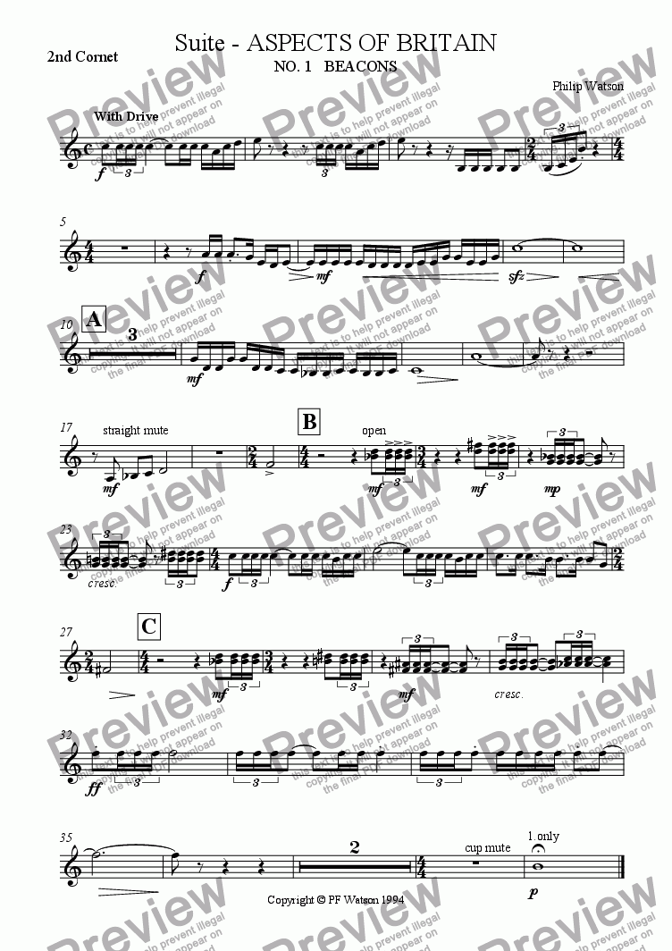 page one of the 2nd Cornet part from SUITE: Aspects of Britain  No.1 BEACONS