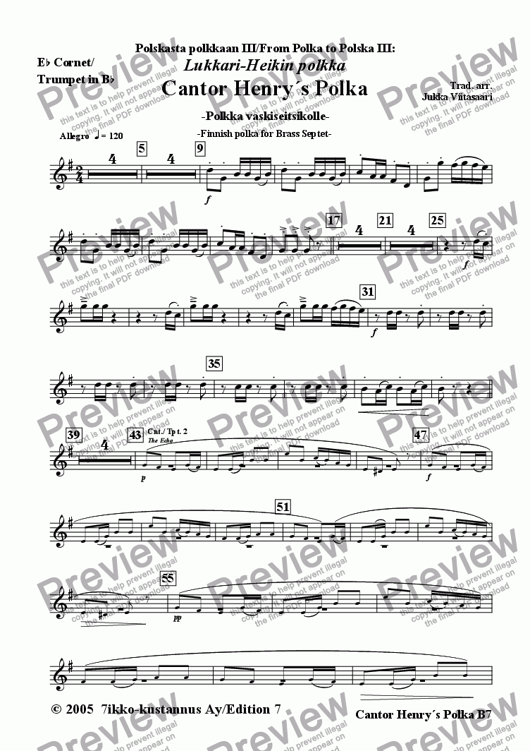 page one of the 1B. Eb Cornet/Trumpet in Bb part from Cantor Henry´s Polka (Brass Septet)