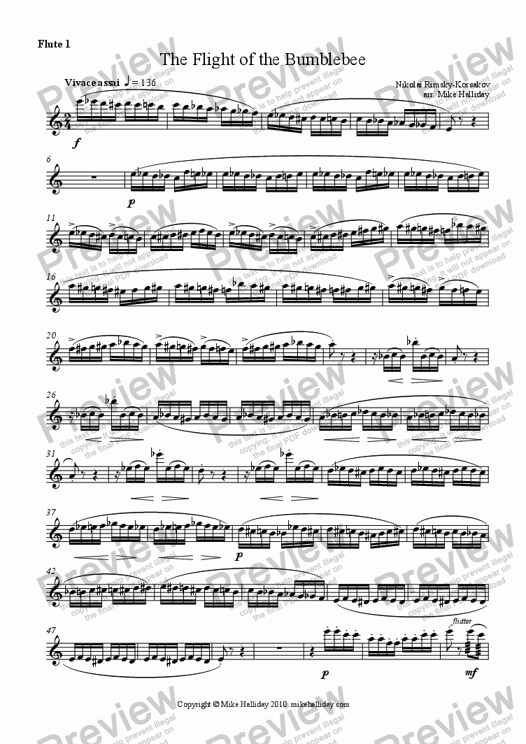page one of the Flute 1 part from Flight of the Bumblebee, The